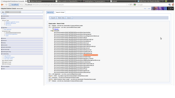 Websphere view - lodade classes